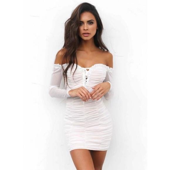 fa2f1734f06e2 ASOS Dresses | Honey Punch White Mesh Bardot Bodycon Dress | Poshmark
